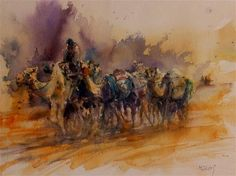 "Daily Paintworks - ""Al Ain Camel racetrack 1"" - Original Fine Art for Sale - © Midori Yoshino"