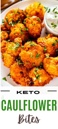 Looking for a fabulous vegetarian wing alternative? You are going to love these Keto Cauliflower Bites. They are easy to make and a fabulous healthy option and also work for a vegetarian keto diet. One bite of this delicious appetizer or side and you will be hooked. Vegetarian Wings, Vegetarian Keto, Paleo, Vegan, Low Carb Appetizers, Appetizers For Party, Appetizer Recipes, Sugar Free Recipes, Keto Recipes