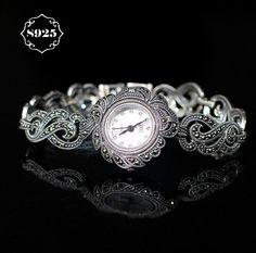 Limited Classic Elegant S925 Silver Pure Thai Silver Flower Bracelet Watches Thailand Process Rhinestone Bangle Dresswatch  #me #men #belts #selfie #sale #followme #love #gift #groom #bride #women #fashion #kids #graduation #smartwatch