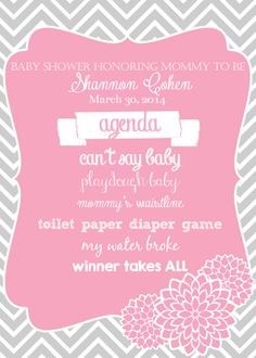 events 14 west graphics baby shower agenda pink and gray baby shower