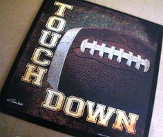 FOOTBALL Sign WOOD Bedroom Decor GRIDIRON Sports by carolalden, $9.95