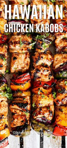 Pineapple Chicken Kabobs {Easy to Make} - Spend With Pennies Chicken, veggies and pineapple are the perfect addition to the grill! These Chicken skewers are delicious, full of flavor and brushed with a tangy Pineapple BBQ Sauce and grilled until tender. Pineapple Chicken Kabobs, Grilled Pineapple Recipe, Pineapple Chicken Recipes, Spareribs, Grilled Chicken Recipes, Hawaiian Grilled Chicken, Grilled Chicken Skewers, Grilled Veggies, Chicken Kebab Recipe Skewers