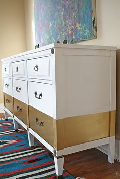 Gold Stripe Dresser