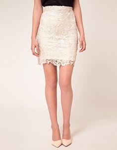 Mango Lace Pencil Skirt