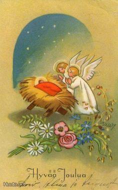Martta Wendelin Christmas Card Images, Old Christmas, Vintage Christmas Cards, Retro Christmas, Vintage Holiday, Christmas Angels, Scandinavian Christmas, Winter Scenes, Christmas Inspiration