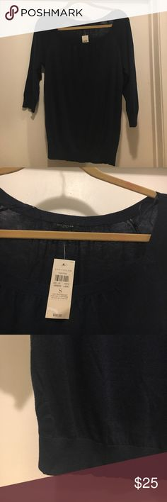 NWT Ann Taylor Sweater Brand new, never worn Ann Taylor navy blue sweater. 3/4 sleeves. Rayon / nylon / cashmere blend. Ann Taylor Sweaters Crew & Scoop Necks