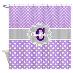 Purple Gray Dots Quatrefoil Personalized Shower Cu on CafePress.com