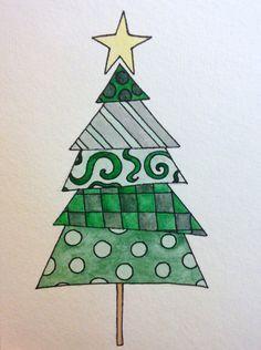 Handpainted Christmas Card Christmas tree by paperlovebyamanda