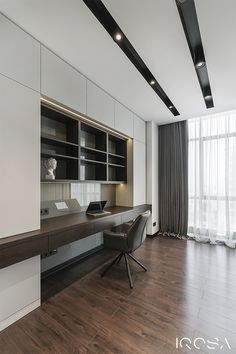 Apartment in Park Avenue VIP on Behance Study Room Design, Home Room Design, Modern Bedroom Design, Office Interior Design, Office Interiors, Interior Design Inspiration, Home Office Setup, Home Office Space, Apartment Projects