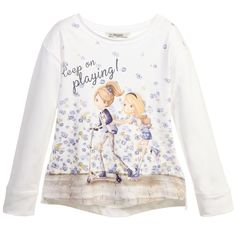 Long Sleeve T-Shirt with Skater Girl Print, Mayoral, Girl