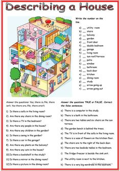 Picture description: House worksheet – Free ESL printable worksheets made by tea… - Grundschule English Study, English Lessons, Learn English, French Lessons, English Class, Spanish Lessons, Learn French, Picture Comprehension, Reading Comprehension