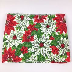 "VTG Christmas Table Cloth 52X66"" Poinsettia Holly Pine Fabric Tablecloth Dining"
