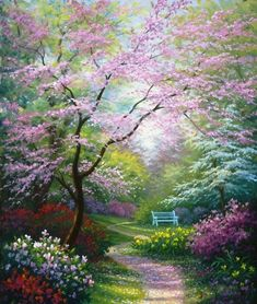 Painted by Charles White, the Spring Blossoms wallpaper mural features a winding path through a beautiful garden. Beautiful blossoms in pink, green, red, and yellow will add a calming element to any space. Free US shipping. Spring Landscape, Landscape Art, Landscape Paintings, Oil Paintings, Landscape Design, Beautiful Paintings, Beautiful Landscapes, Beautiful Gardens, Murals Your Way
