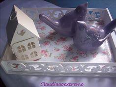 Claudia ao Extremo: Bandejas em mdf pintadas e forradas com tecido fof...