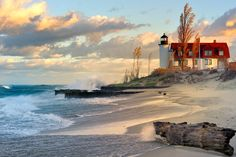 """Lighthouse Dawn"" Point Betsie Lighthouse, Lake Michigan by John McCormick, via 500px"