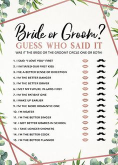 Brautparty Guess Who Said It, Bridal Shower Games, Bridal Shower Game Idea, Bridal Shower Instant Do Printable Bridal Shower Games, Wedding Shower Games, Wedding Showers, Shoe Game Wedding, Couple Shower Games, Games For Wedding Reception, Best Bridal Shower Games, Baby Showers, Wedding Party Games