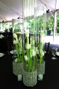 Crystal vase with tulip centerpiece