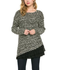 Another great find on #zulily! Black & White Ruffle-Trim Knit Sweater #zulilyfinds