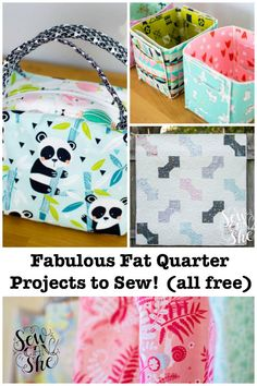 Sewing Tutorials Free Sew Can She - Do you have a pretty new bundle of fat quarters that you are dying to use? I have that problem all the time! Here's some of my favorite fat quarter projects to sew - all free! Diy And Crafts Sewing, Easy Sewing Projects, Sewing Projects For Beginners, Sewing Hacks, Sewing Tutorials, Sewing Tips, Bag Tutorials, Sewing Ideas, Fat Quarters