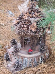 The Pine Cone Lodge, a OOAK Fairy House from WhimsicalProperties on Etsy.
