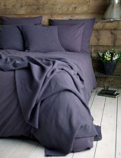 Cotton Aubergine bedding set at Secret Linen Store