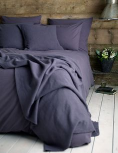 Cotton Aubergine bedding set at Secret Linen Store