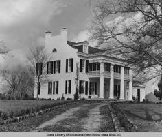 B&W photo, circa Richland Plantation, constructed in the Norwood, La. Greek revival home. Features inlude fireplaces against side walls and exterior walls with scored stucco to resemble brick. Old Southern Homes, Southern Plantation Homes, Southern Mansions, Plantation Houses, Old Southern Plantations, Louisiana Plantations, Abandoned Houses, Abandoned Places, Old Houses