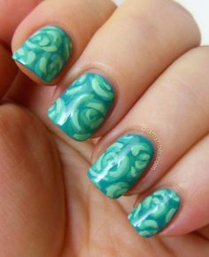 teal rose nail art with acrylic paint