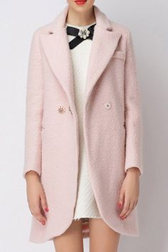 Lapel Double-Breasted Slimming Coat