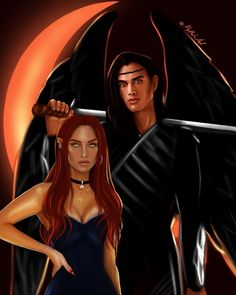 """I had to combine them in one drawing 👌🏼😅❤️ Bryce and Hunt from """"House of Earth and Blood"""" (Crescent city) by Не… Throne Of Glass, Fanart, Sarah J Maas Books, Rhysand, City Aesthetic, City Of Bones, Crescent City, City Art, Book Characters"""