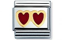 Nomination stainless steel and 18ct gold Red Double Heart Classic Charm with Enamel