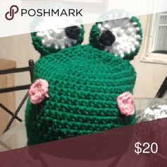 Novelty Hat Frog Crochet Hat, acrylic yarn, special order Accessories Hats