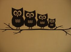OWL FAMILY Sitting on a Branch Vinyl Wall Decal - Home Decor -Childrens Room - Best Deal. $17.95, via Etsy.