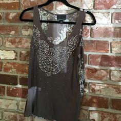 Host Pick Cynthia Rowley Grey, Teal/White Top Cynthia Rowley Grey, white and real tank top with silver beading.  Very nice and soft cotton material with a silk flowered back.  Very cute and flattering on with shorts, jeans or leggings. Cynthia Rowley Tops Tank Tops