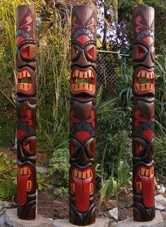 New Arrivals Tall 60' Two face hawaii Tribal tiki mask, tiki statue tikis fiji outdoor indoor ornaments tiki bar products vintage antique by CraftyplusBoutique on Etsy