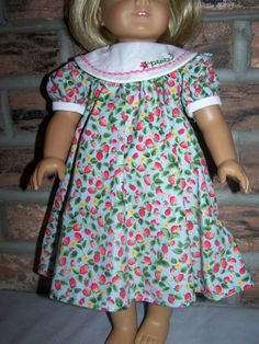 """R loves this one, but wants her name instead of """"Peace"""".  :) Cute idea!   American Girl Doll Clothes  Strawberry by KingsLittleBlessings, $9.00"""