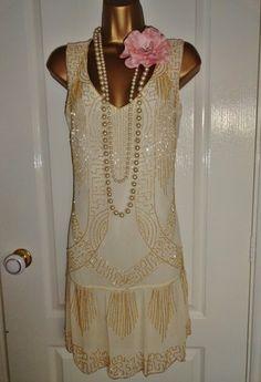GORGEOUS 1920's Flapper Inspired Art Deco Beaded Dress Size UK 14 Euro 42 USA 10 | eBay