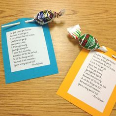 Wonderful poem to share with your students on the last day of school. Student Treats, School Treats, Student Teacher, School Gifts, Student Gifts, Best Teacher, End Of School Year, School Fun, Sunday School