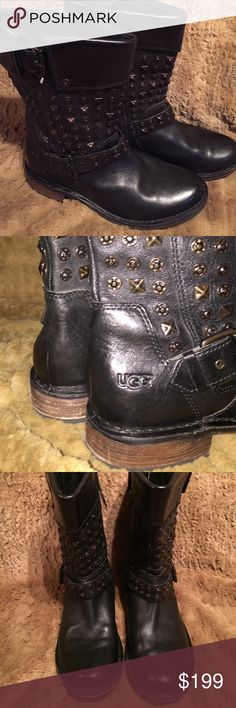 UGG LEATHER AND STUDS MOTO BOOTS SZ 7 GENTLY WORN AND PLENTY OF LIFE LEFT IN THESE FABULOUS UGG ALL LEATHER WITH STUDS ON SHAFT MOTO STYLE BOOTS. THERE A SIZE 7 the tag was removed on the inside. LEATHER lined. These are authentic. UGG Shoes Combat & Moto Boots