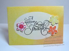 A Million and One Thanks using Stampin' Up!'s Watercolor Wonder Note Cards and greeting set. Visit my blog for details - JamieGstamps.blogspot.com
