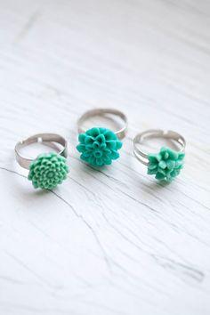 Mint Flower Ring $9.00