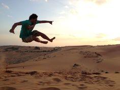 Jumping around the desert in Muine, Vietnam