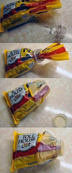 Lifehacks envase galletas  Para tapara las bolsas de galletas con un tapon de refresco