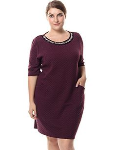 d1e2e4053cd Chicwe Womens Short Sleeves Plus Size Dress with Diamond Trim Neck 24 Red      Visit the image link more details.