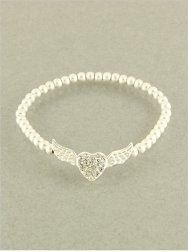 $17.95 Designer Inspired 5mm Matte Silver Color Beaded Bracelet with Rhinestone Heart Charm Center Surrounded By Angel Wings, Stretch. Hail Mary Gifts, http://www.amazon.com/dp/B009XE5VF8/ref=cm_sw_r_pi_dp_qfHXqb1EKFD0Z