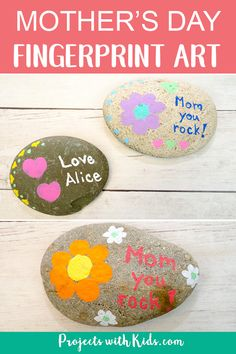 An easy painted rock craft using fingerprint art that makes a wonderful mother's day craft and keepsake. Easily adaptable for kids of all ages. Rock Painting Ideas Easy, Painting For Kids, Art For Kids, Painting Art, Craft Projects For Kids, Art Projects, Craft Ideas, Mother's Day Activities, Painting Activities