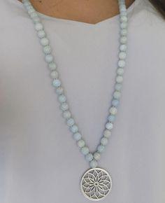 Akvamarin Armband Halvädelsten Yoga Yogasmycken Mala Halsband Handgjorda Smycken Malas