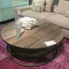 Captivating Round Wood Coffee Table With Iron Base   Industrial Chic   Channing Coffee  Table