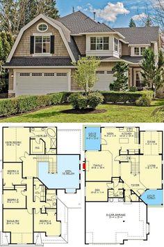 Porch House Plans, Cottage Style House Plans, Open House Plans, Basement House Plans, House Plans One Story, Craftsman Style House Plans, Dream House Plans, House Floor Plans, Small Modern House Plans
