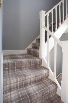 Hugh Mackay Pine Tartan carpet fitted to staircase in Sandhurst Berkshire